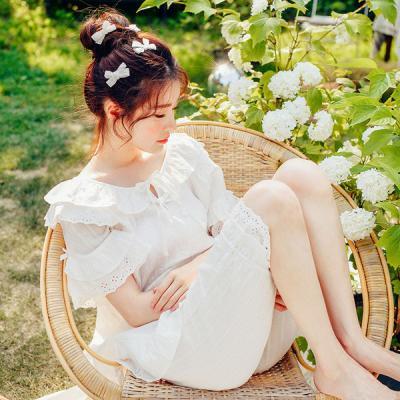 [쿠비카]소매 레이스 크리즈면 투피스 여성잠옷 W324