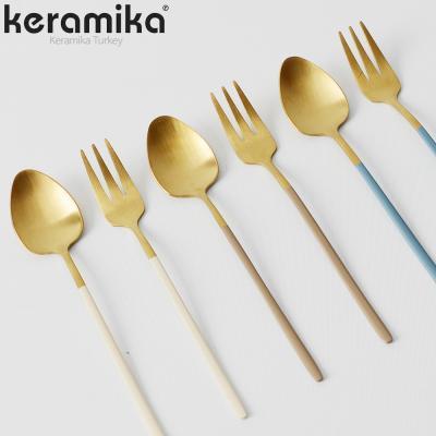 케라미카 골드 커트러리 양식기 티스푼 티포크 6컬러