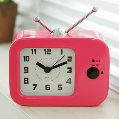 TV 칼라 탁상시계(핑크)