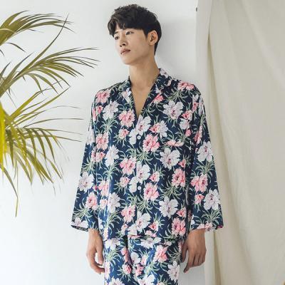 [쿠비카]빅 플라워 샤무즈 긴팔 남성잠옷 BNBR-M060