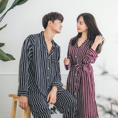 [쿠비카]맥시 스트라이프 셔츠형로브 커플잠옷 WM120