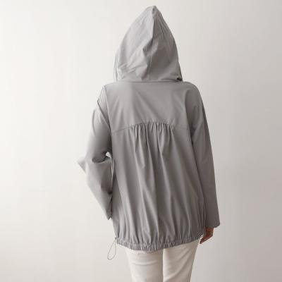 Hood Nylon Shirring Sweatshirt