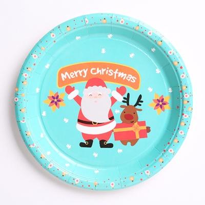 크리스마스 파티접시 18cm (10개입) 산타