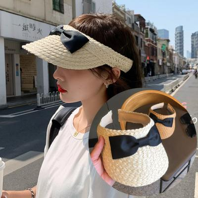 모젯 여름 리본 포인트 밀짚 썬캡