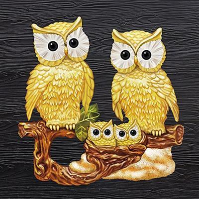황금부엉이 가족 (패브릭) 보석십자수 40x40