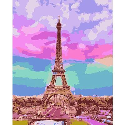 DIY 명화그리기키트 - 신비로운 에펠탑 40x50cm (물감2배, 컬러캔버스, 명화, 풍경화, 에펠탑, 도시그림)