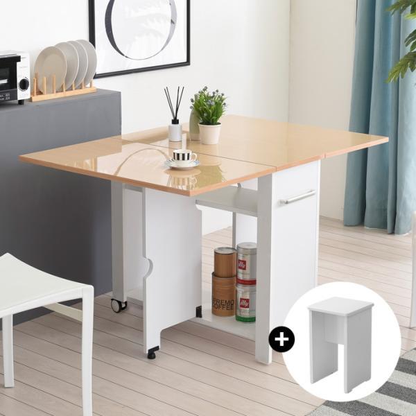 이동형 폴딩 테이블식탁(하이그로시800)+의자2개KD481