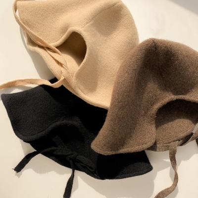 리본 트임 울 와이끈 벙거지 모자