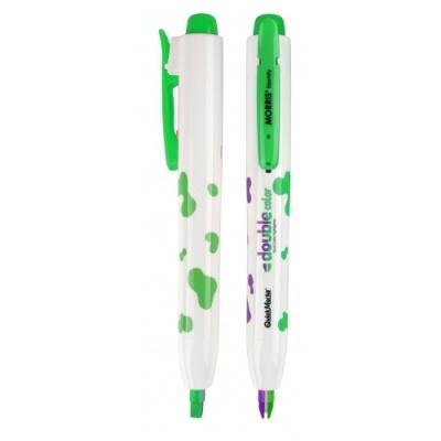 [모리스] 노크식더블칼라형광펜(보라+초록) 307220