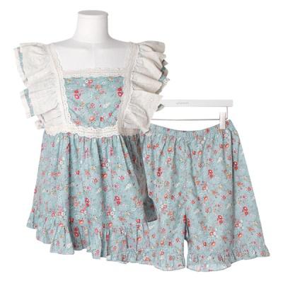 [쿠비카]스퀘어넥 숄더 이중 3부 투피스 여성잠옷W614