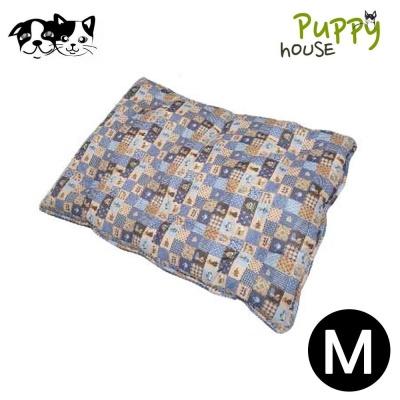 퍼피하우스 플래드 강아지 평방석 (블루) (M)