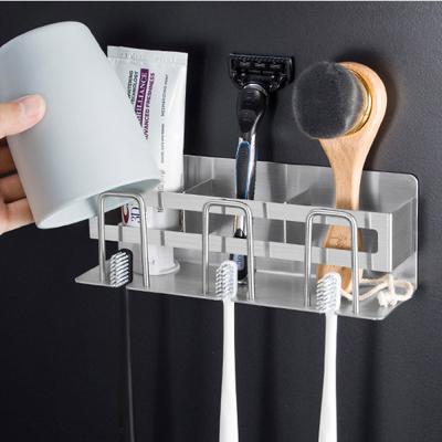 메탈 욕실 칫솔 거치대 걸이 꽂이 홀더 통 (3인용)