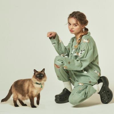 [오끼뜨] 코튼 30수 고양이 파자마세트 2color