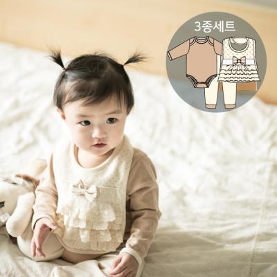 오가닉 백설공주탄생선물3종세트(수트+바지+턱받이)