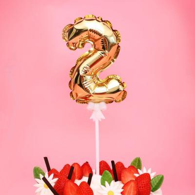 생일 케이크 풍선 데코픽 (골드) 2
