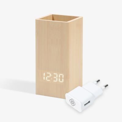 인테리어 우드연필꽂이 탁상 알람 LED시계 어댑터세트