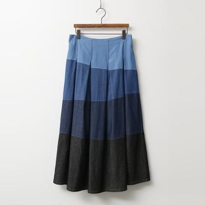 Denim Combo Full Long Skirt