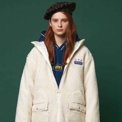 후리스 투웨이 포켓 양털 누빔 자켓 (아이보리)