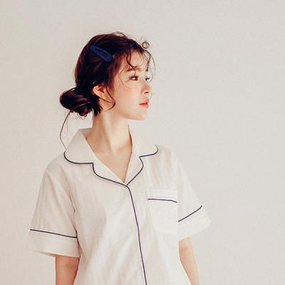 [쿠비카]줄기 레이스 파이핑 투피스 여성잠옷 W327