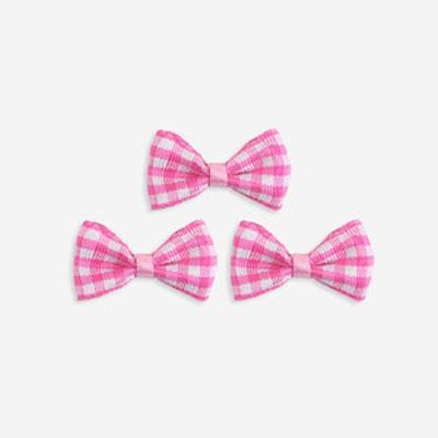 핑크 체크 완성리본 미니 (10개)