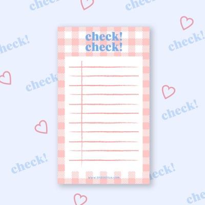 Pink Check! Check!  핑크 체크 체크 메모지