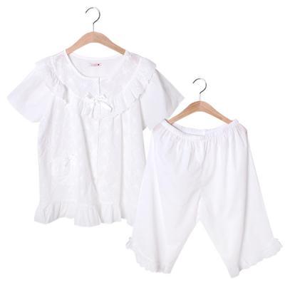 [쿠비카]레이스 자수 플라워 아사면 투피스 잠옷 W047