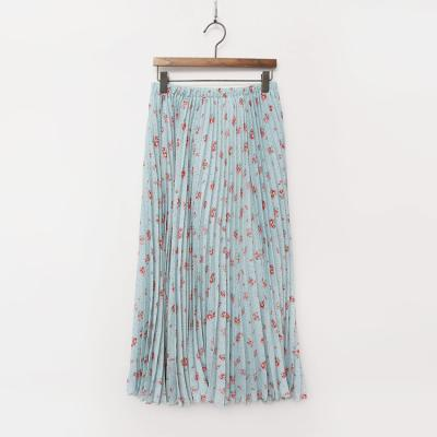 Vintage Flower Pleated Long Skirt