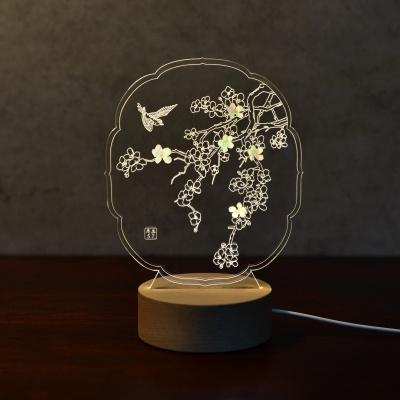 매화 자개  LED 무드등 (투명/블랙)