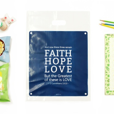 선물포장 비닐백(대)_Faith Hope Love (20매)_네이비