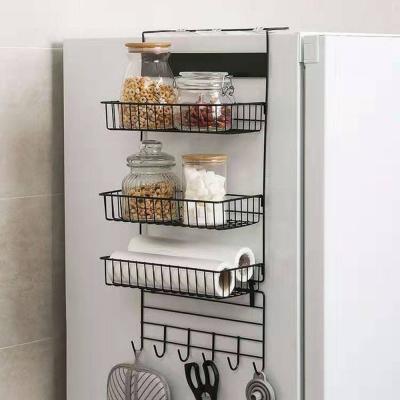 냉장고걸이 3단 스틸 수납선반(블랙) 주방 틈새선반