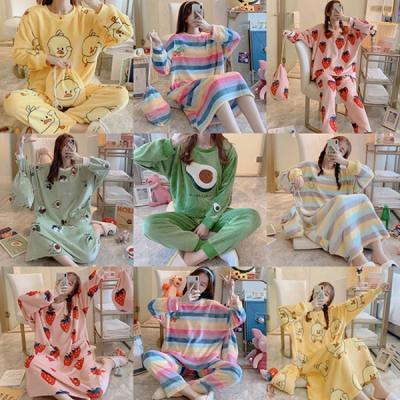 12종 겨울 수면 잠옷 세트 캐릭터 극세사 파자마 잠옷