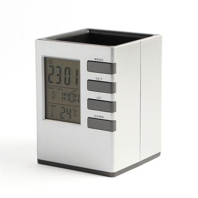 큐브 펜꽂이 디지털 탁상시계