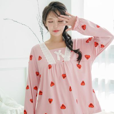 메리핀 핑크 레이스 긴팔 여성 잠옷세트