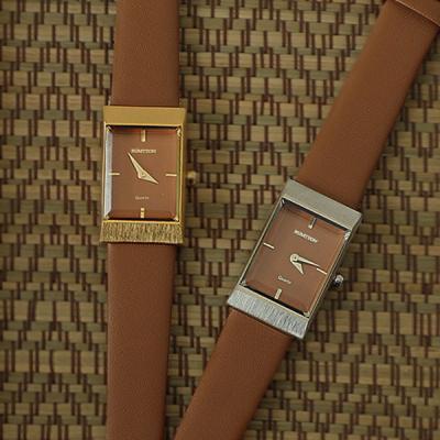 여자 시계 브랜드 여성 가죽 손목시계 그리드 탠