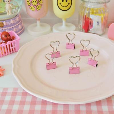 핑크 하트 철제 집게(6개 1세트)