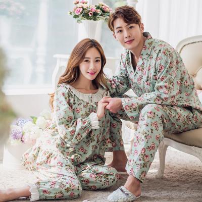 [쿠비카]넥레이스 로즈 플라워 투피스 커플잠옷 WM089