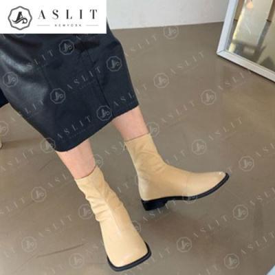 [애슬릿]여성 발 넓은 스퀘어 스판 앵클 부츠 2.5cm