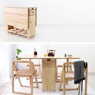 벤트리 원목 확장형 테이블 사각디자인 (의자 별도)