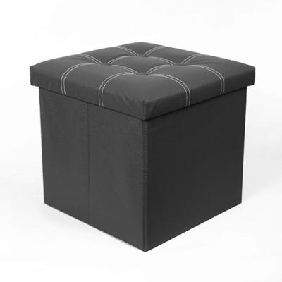(와인앤쿡)미니멀 패턴 블랙 수납 의자 1P