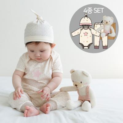 [CONY]오가닉백일여아선물4종세트(의류3종+꼬마곰인형)