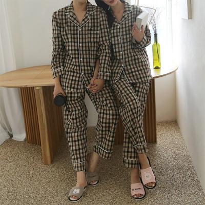 Brown Check Pajama Set - 커플룩