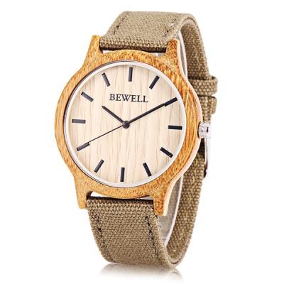 Bewell The Base-비웰 우드손목시계(4컬러)-지브라케이스-브라운스트랩