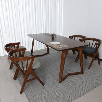 우데 고무나무 원목 4인 식탁+의자 세트