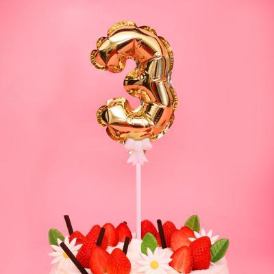 생일 케이크 풍선 데코픽 (골드) 3