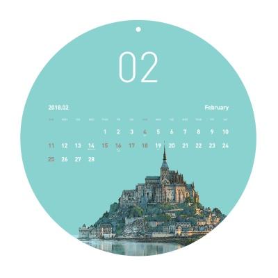 2018 벽걸이 원형 달력 캘린더 - 유럽여행