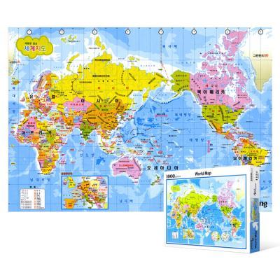 1000피스 직소퍼즐 - 머리에 쏙쏙 세계 지도 (한글판)