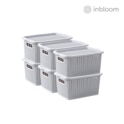 인블룸 6개세트 커버 라탄 리빙박스 소형 그레이