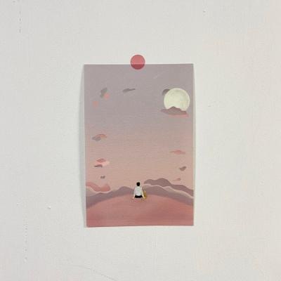 동주와 고양이 몽글몽글 달 구경 디자인 엽서