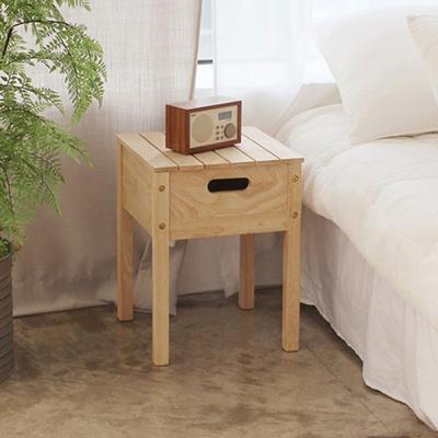 에코상사 고무나무 원목 수납스툴