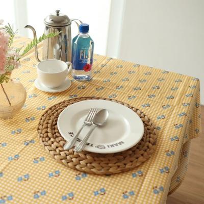 테이블보 블루미니꽃 노란체크식탁보